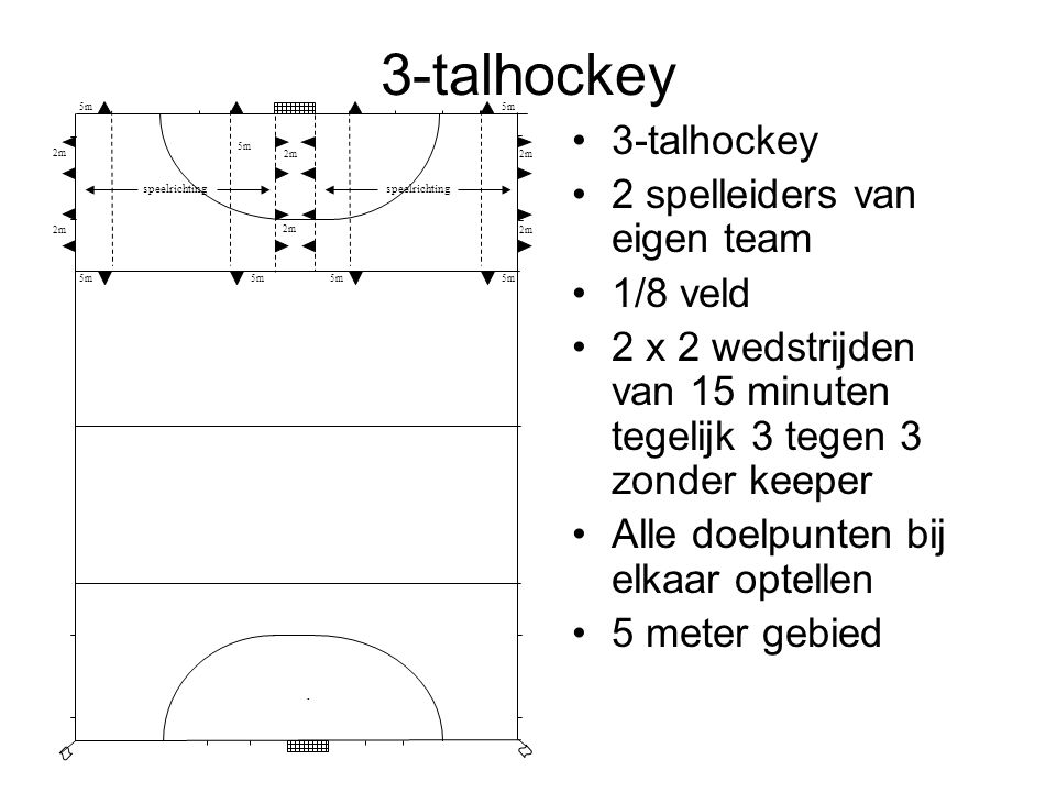 3-talhockey 3-talhockey 2 spelleiders van eigen team 1/8 veld