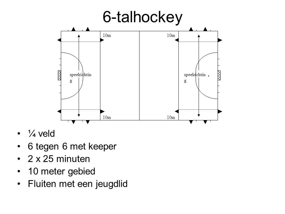 6-talhockey ¼ veld 6 tegen 6 met keeper 2 x 25 minuten 10 meter gebied