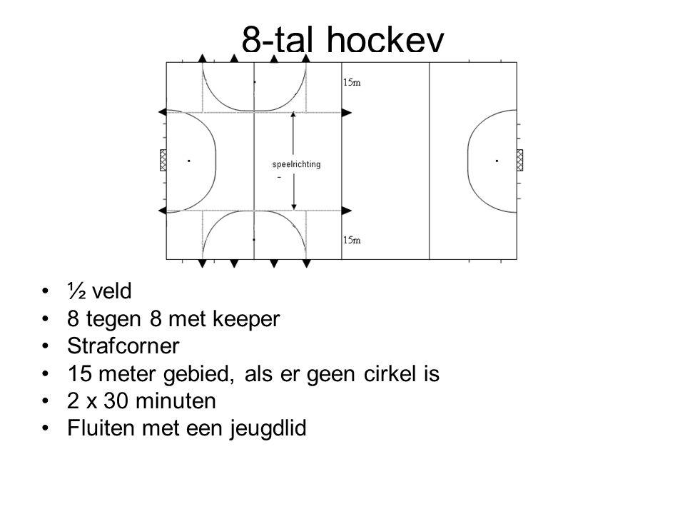 8-tal hockey ½ veld 8 tegen 8 met keeper Strafcorner