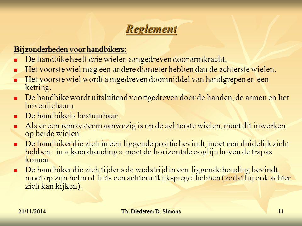 Reglement Bijzonderheden voor handbikers: