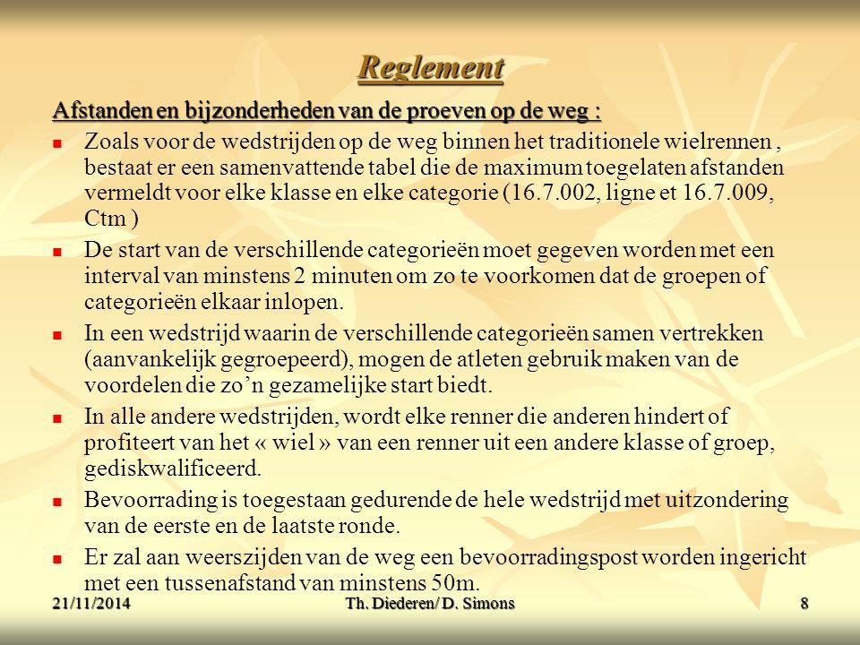 Reglement Afstanden en bijzonderheden van de proeven op de weg :