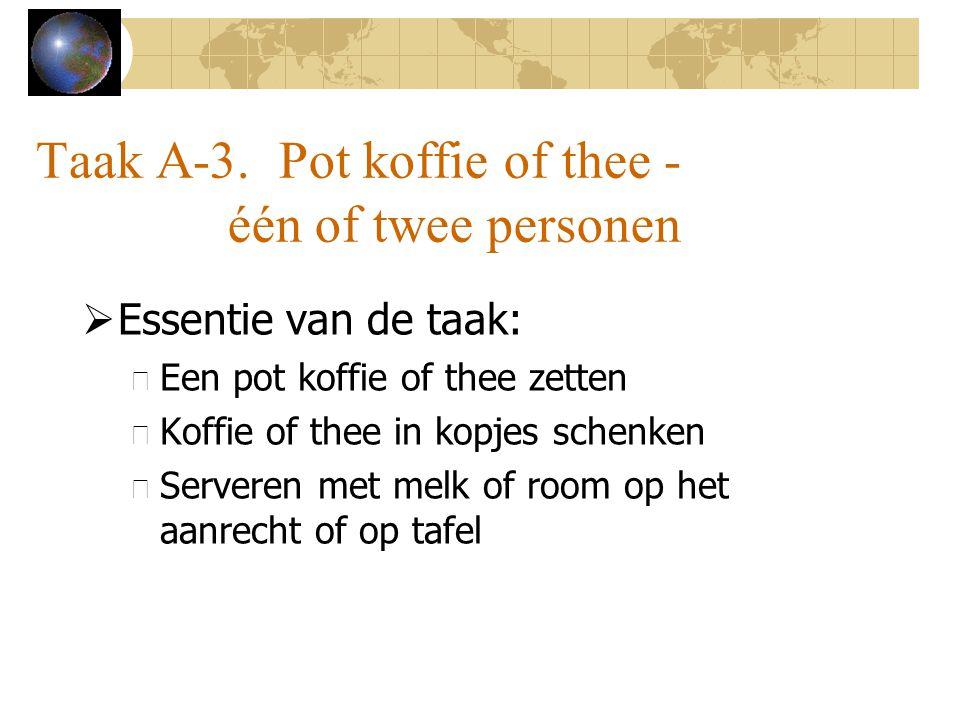 Taak A-3. Pot koffie of thee - één of twee personen