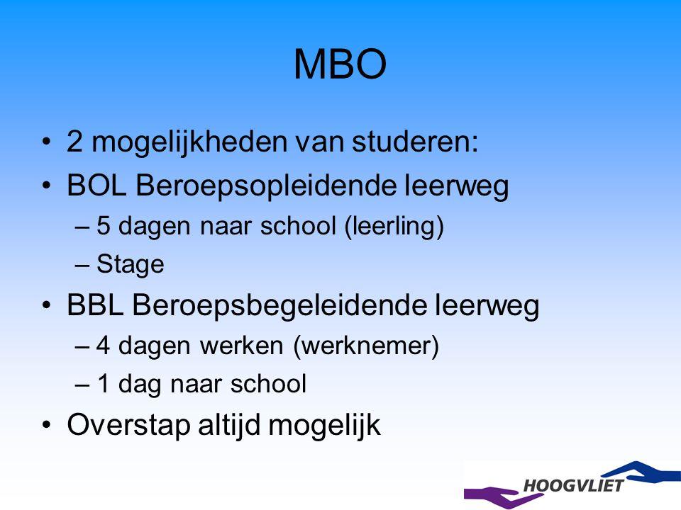 MBO 2 mogelijkheden van studeren: BOL Beroepsopleidende leerweg