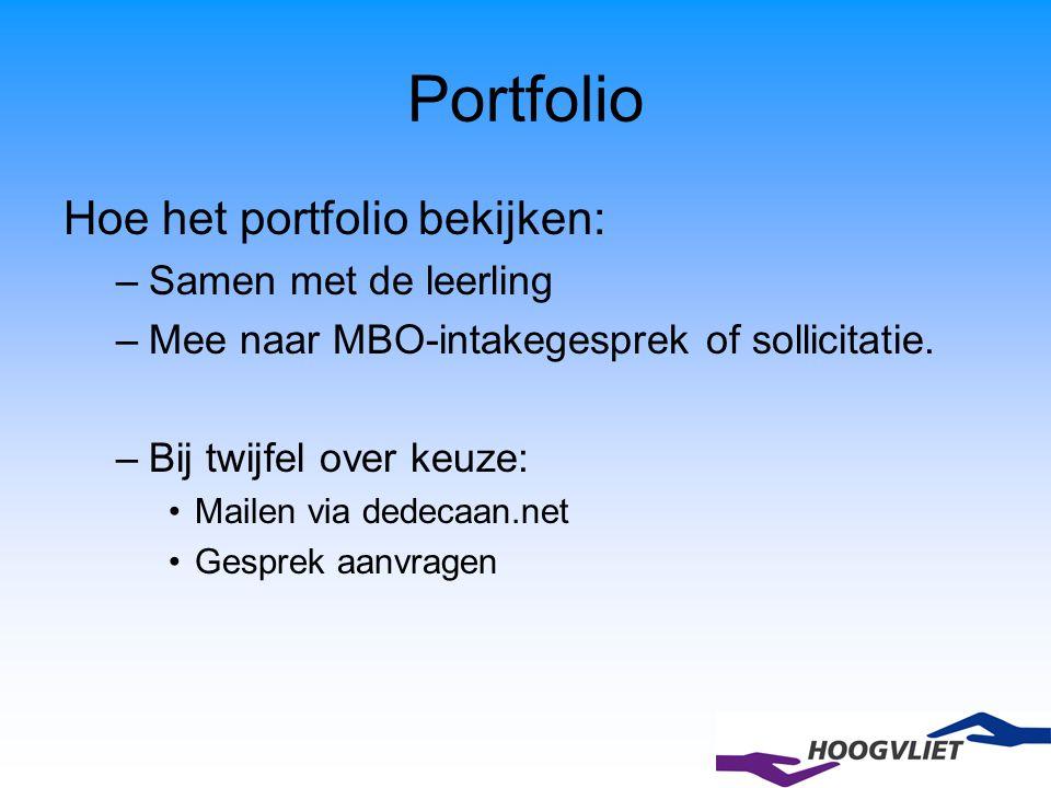 Portfolio Hoe het portfolio bekijken: Samen met de leerling