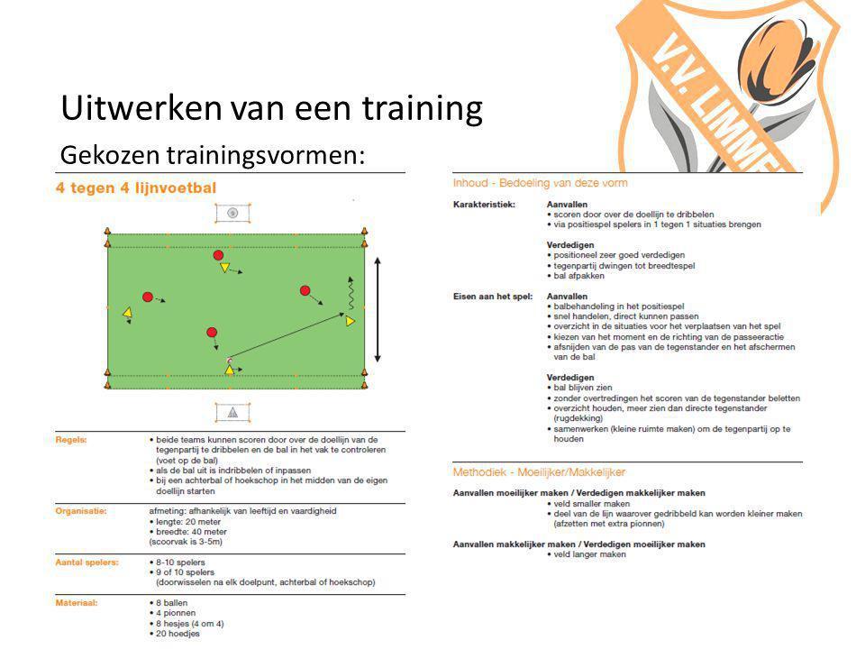 Uitwerken van een training Gekozen trainingsvormen: