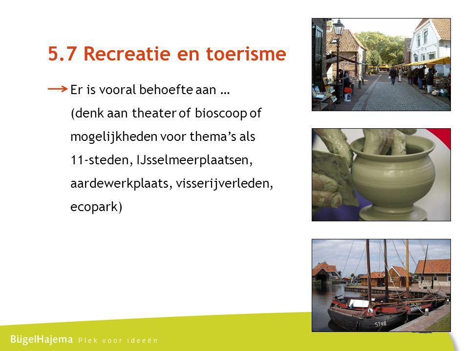 5.7 Recreatie en toerisme Er is vooral behoefte aan …
