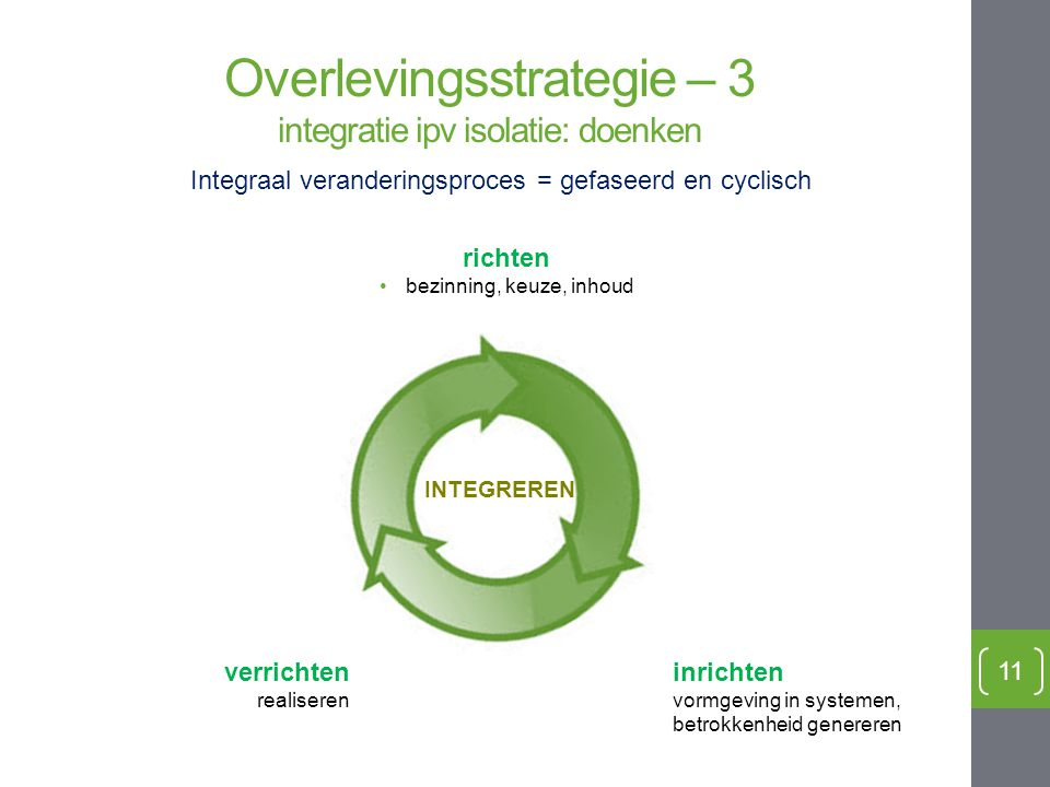 Overlevingsstrategie – 3 integratie ipv isolatie: doenken