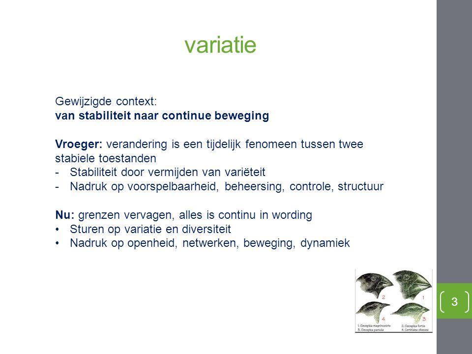 variatie Gewijzigde context: van stabiliteit naar continue beweging