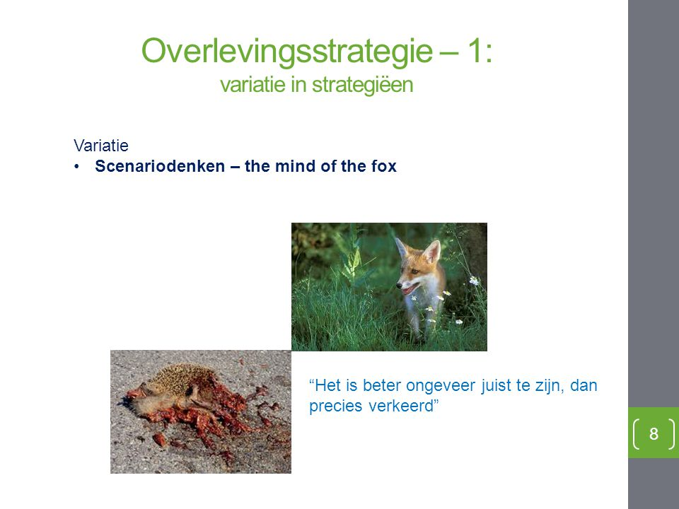 Overlevingsstrategie – 1: variatie in strategiëen