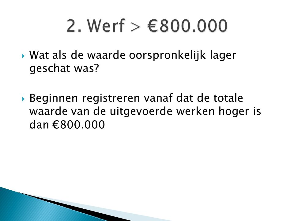 2. Werf > €800.000 Wat als de waarde oorspronkelijk lager geschat was