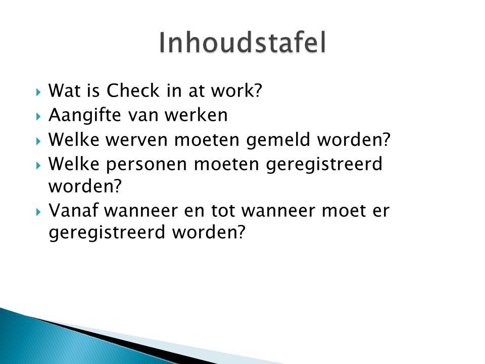 Inhoudstafel Wat is Check in at work Aangifte van werken