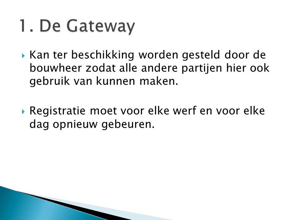 1. De Gateway Kan ter beschikking worden gesteld door de bouwheer zodat alle andere partijen hier ook gebruik van kunnen maken.
