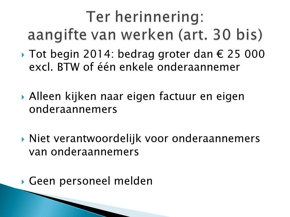 Ter herinnering: aangifte van werken (art. 30 bis)