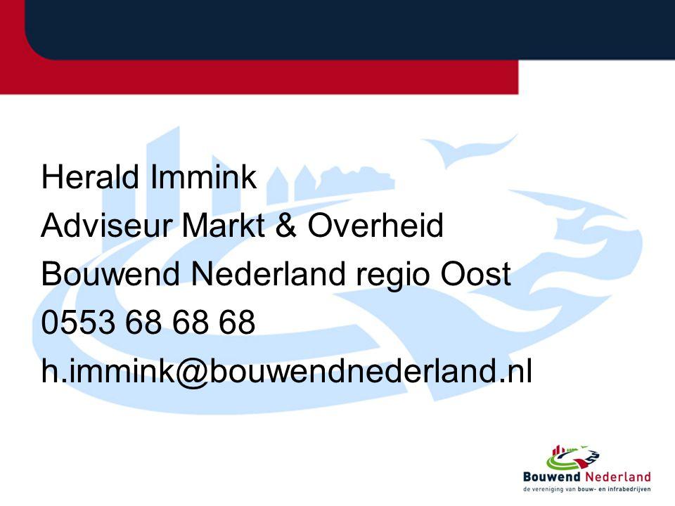 Herald Immink Adviseur Markt & Overheid. Bouwend Nederland regio Oost.