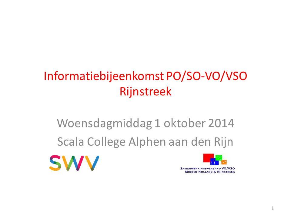 Informatiebijeenkomst PO/SO-VO/VSO Rijnstreek