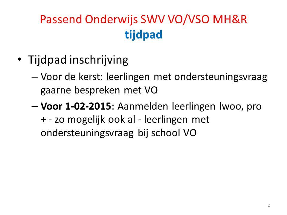 Passend Onderwijs SWV VO/VSO MH&R tijdpad