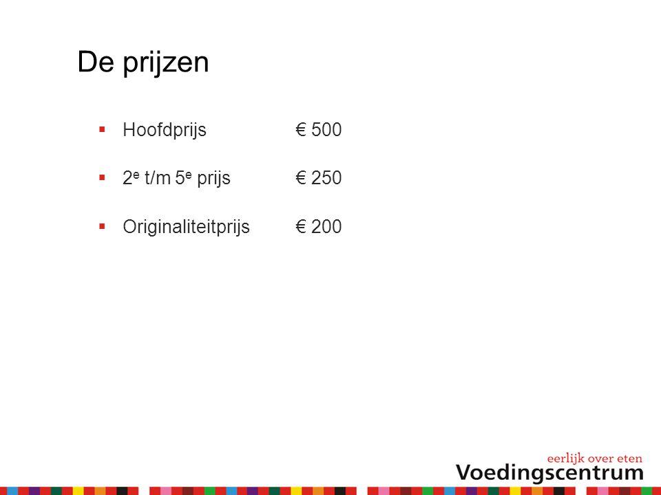 De prijzen Hoofdprijs € 500 2e t/m 5e prijs € 250