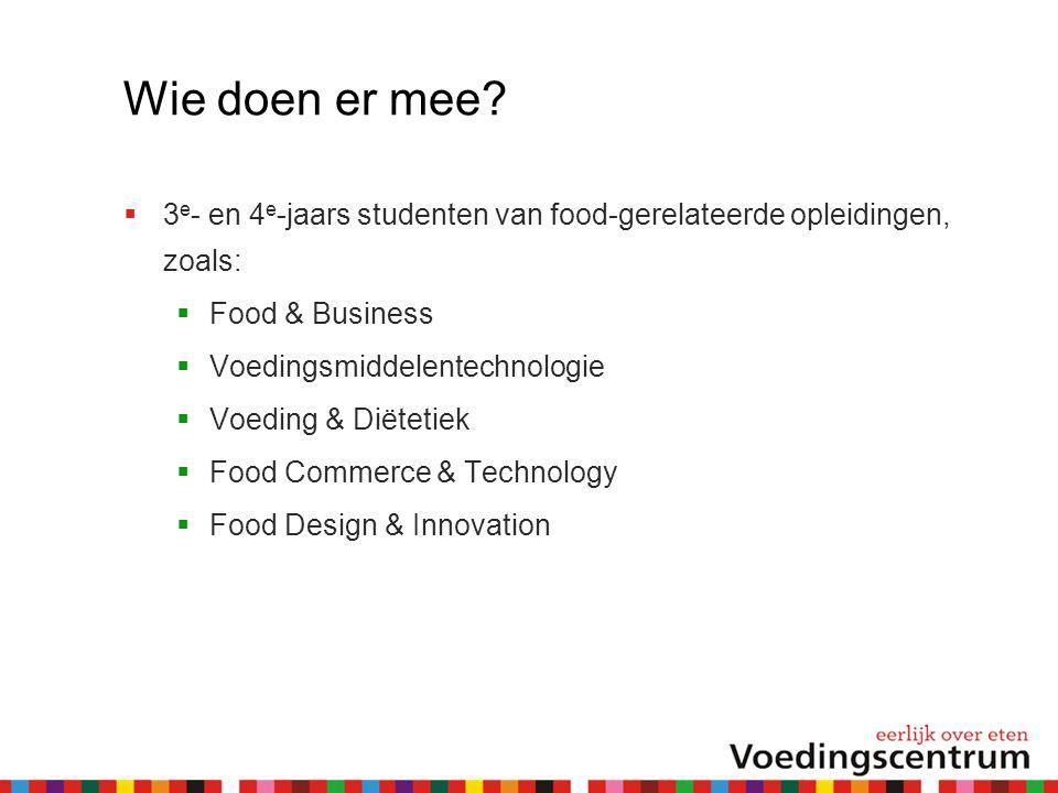 Wie doen er mee 3e- en 4e-jaars studenten van food-gerelateerde opleidingen, zoals: Food & Business.