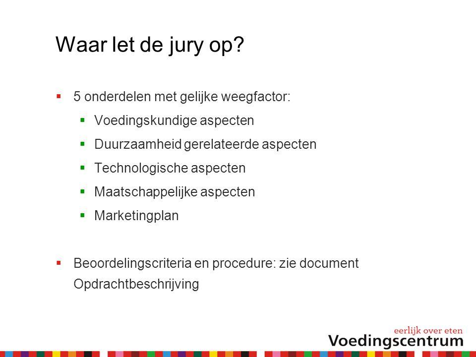 Waar let de jury op 5 onderdelen met gelijke weegfactor: