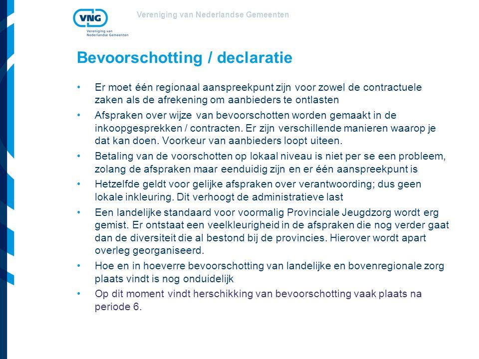 Bevoorschotting / declaratie