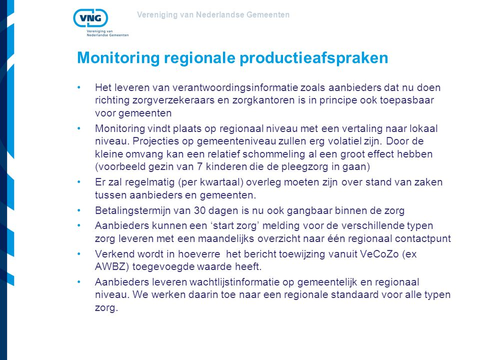 Monitoring regionale productieafspraken