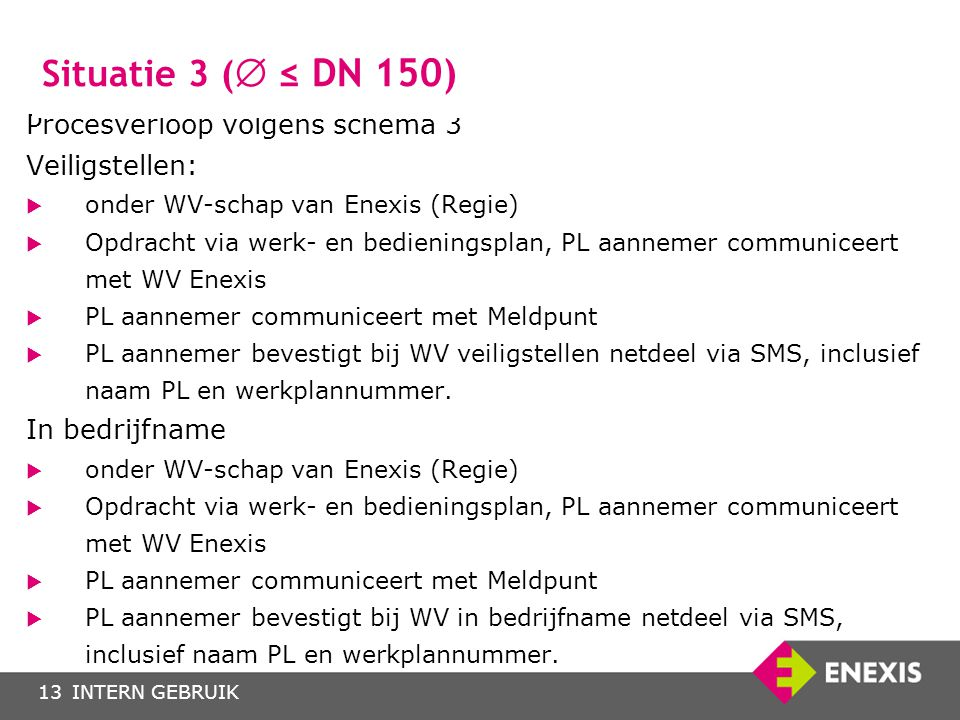 Situatie 3 ( ≤ DN 150) Procesverloop volgens schema 3 Veiligstellen: