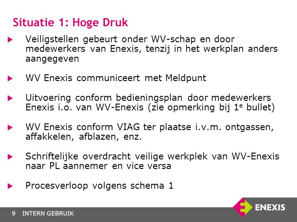 Situatie 1: Hoge Druk Veiligstellen gebeurt onder WV-schap en door medewerkers van Enexis, tenzij in het werkplan anders aangegeven.