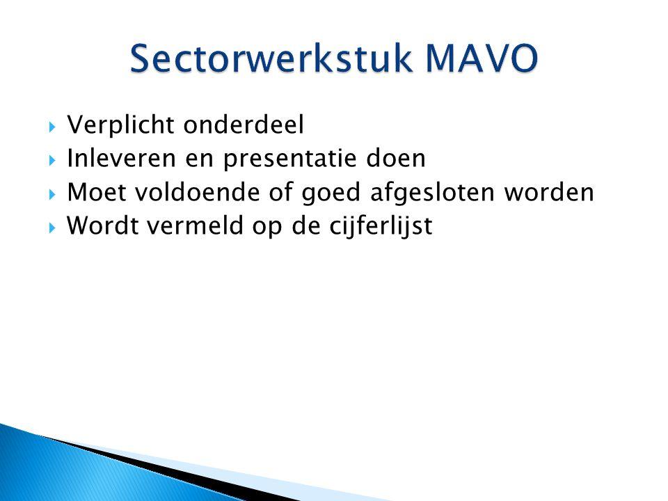 Sectorwerkstuk MAVO Verplicht onderdeel Inleveren en presentatie doen