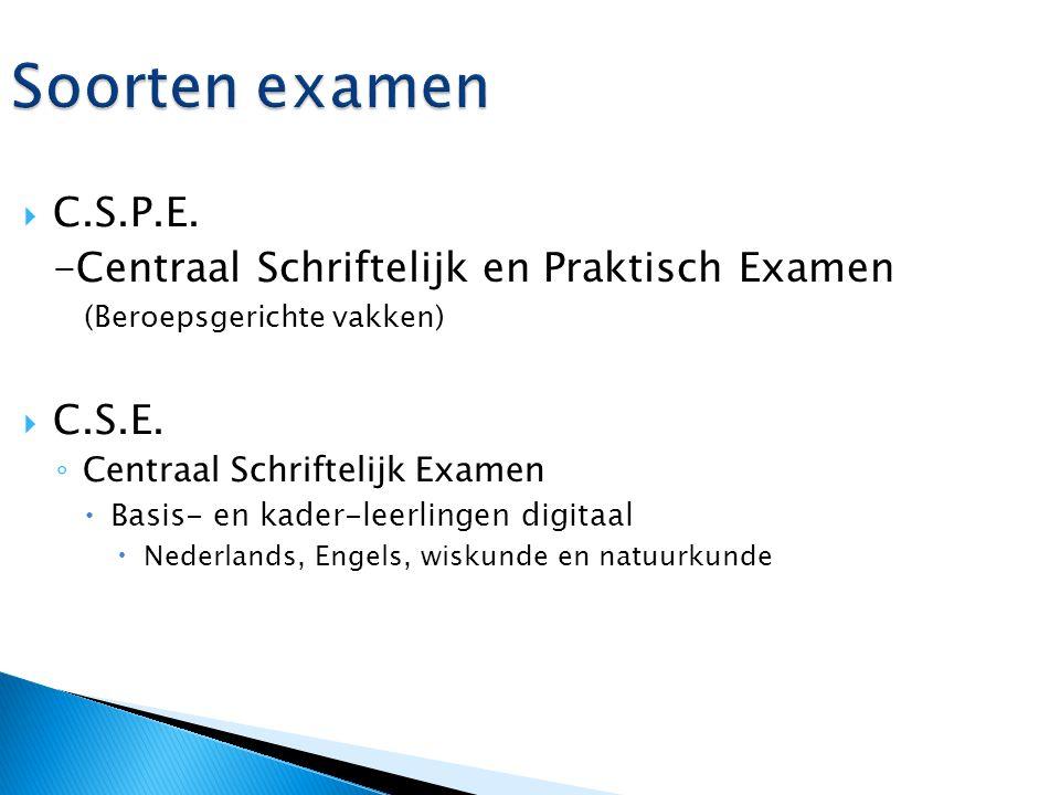Soorten examen C.S.P.E. -Centraal Schriftelijk en Praktisch Examen