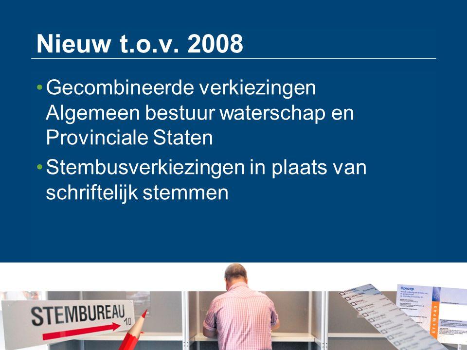 Nieuw t.o.v. 2008 Gecombineerde verkiezingen Algemeen bestuur waterschap en Provinciale Staten.