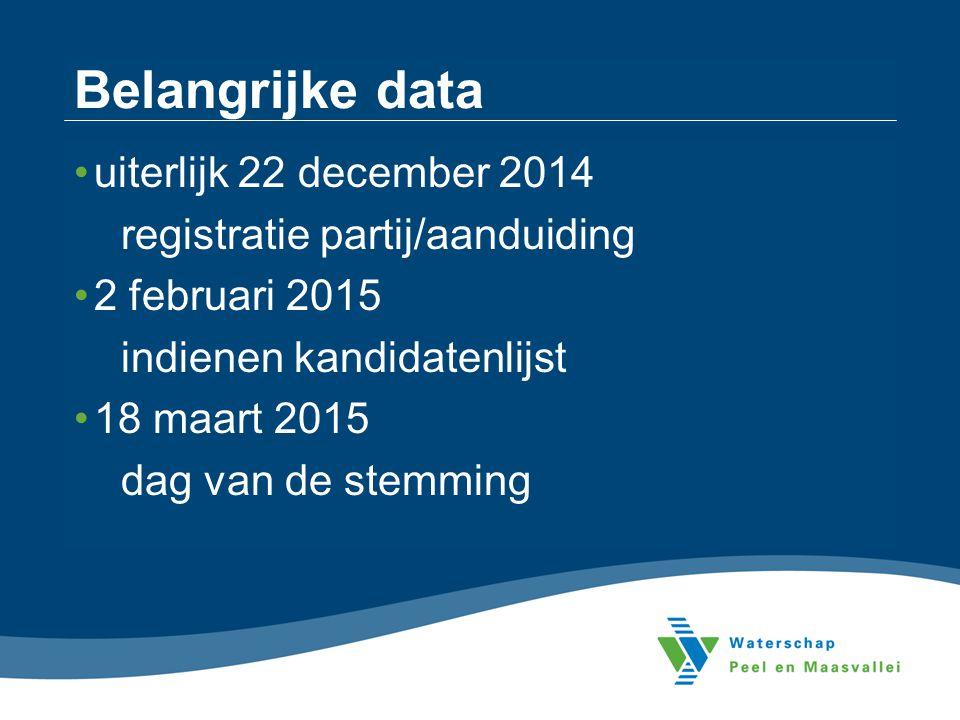 Belangrijke data uiterlijk 22 december 2014
