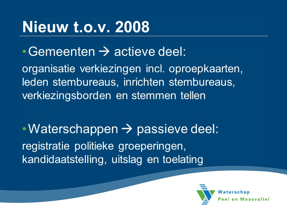 Nieuw t.o.v. 2008 Gemeenten  actieve deel: