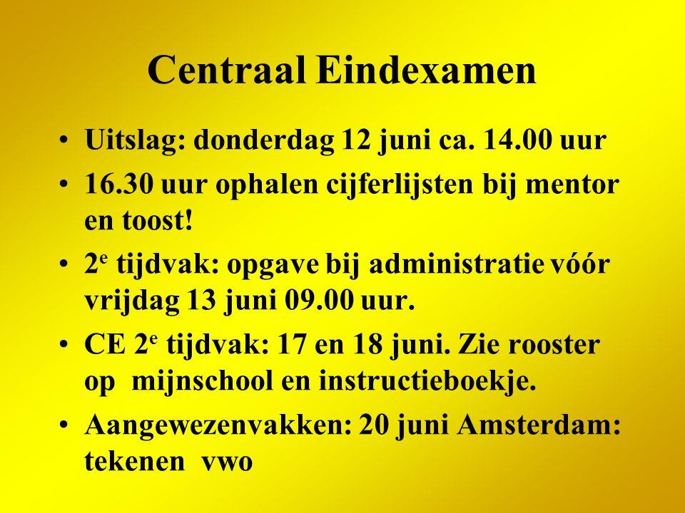 Centraal Eindexamen Uitslag: donderdag 12 juni ca. 14.00 uur