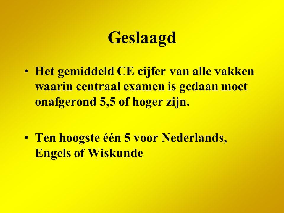 Geslaagd Het gemiddeld CE cijfer van alle vakken waarin centraal examen is gedaan moet onafgerond 5,5 of hoger zijn.