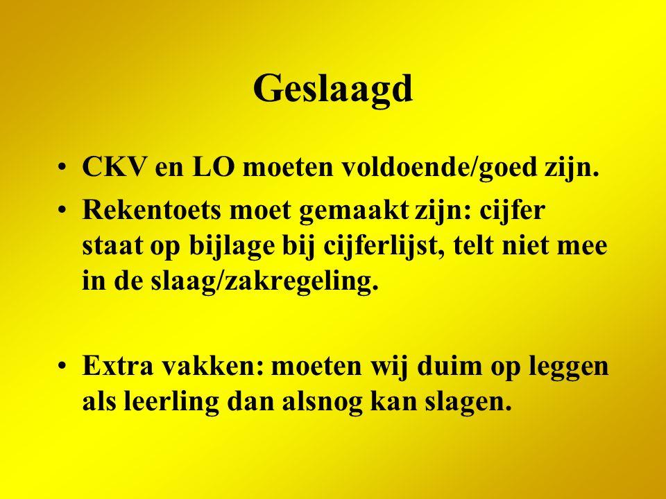 Geslaagd CKV en LO moeten voldoende/goed zijn.