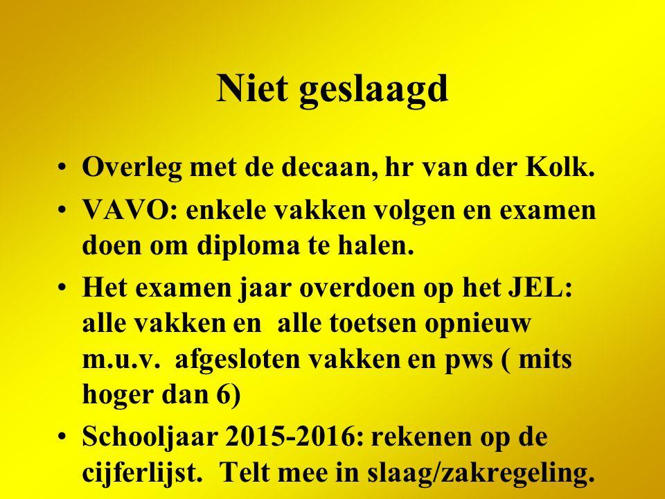 Niet geslaagd Overleg met de decaan, hr van der Kolk.