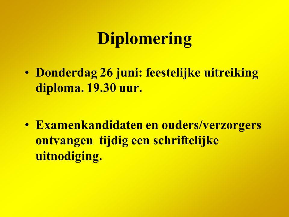 Diplomering Donderdag 26 juni: feestelijke uitreiking diploma. 19.30 uur.