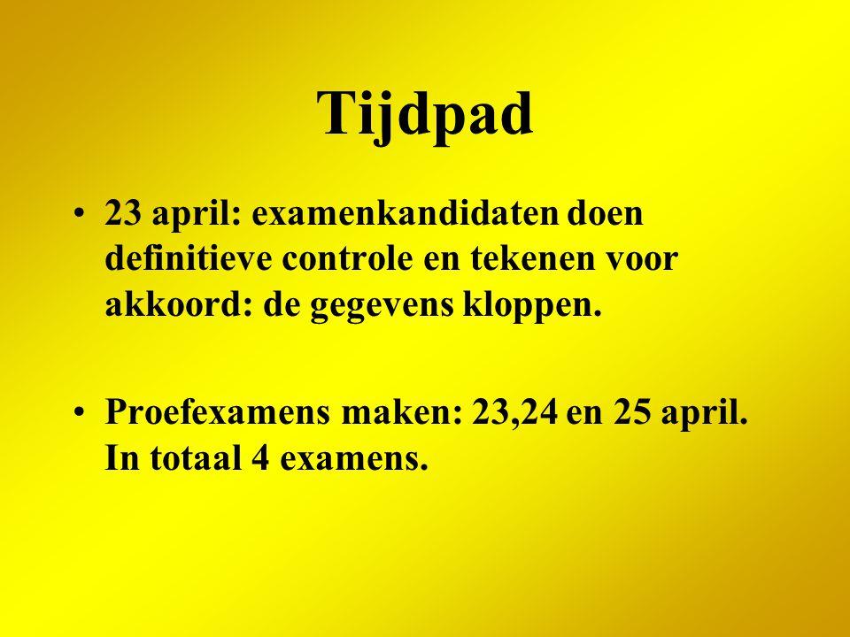 Tijdpad 23 april: examenkandidaten doen definitieve controle en tekenen voor akkoord: de gegevens kloppen.