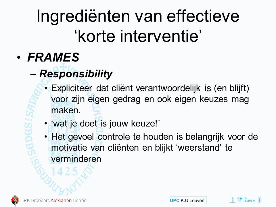 Ingrediënten van effectieve 'korte interventie'
