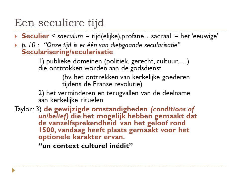 Een seculiere tijd Seculier < saeculum = tijd(elijke),profane…sacraal = het 'eeuwige'