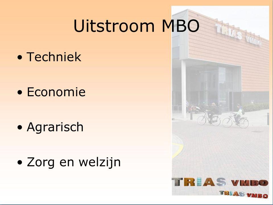 Uitstroom MBO Techniek Economie Agrarisch Zorg en welzijn