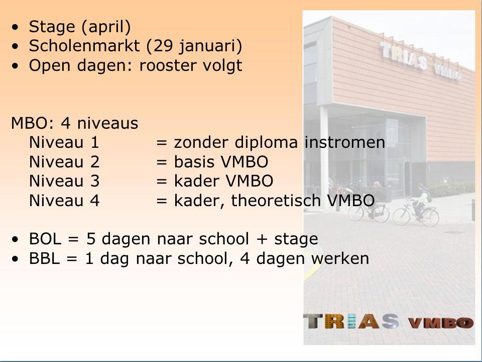 Stage (april) Scholenmarkt (29 januari) Open dagen: rooster volgt. MBO: 4 niveaus. Niveau 1 = zonder diploma instromen.