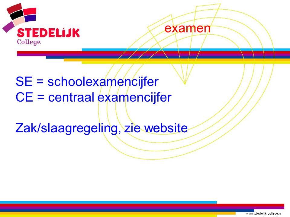 examen SE = schoolexamencijfer CE = centraal examencijfer Zak/slaagregeling, zie website