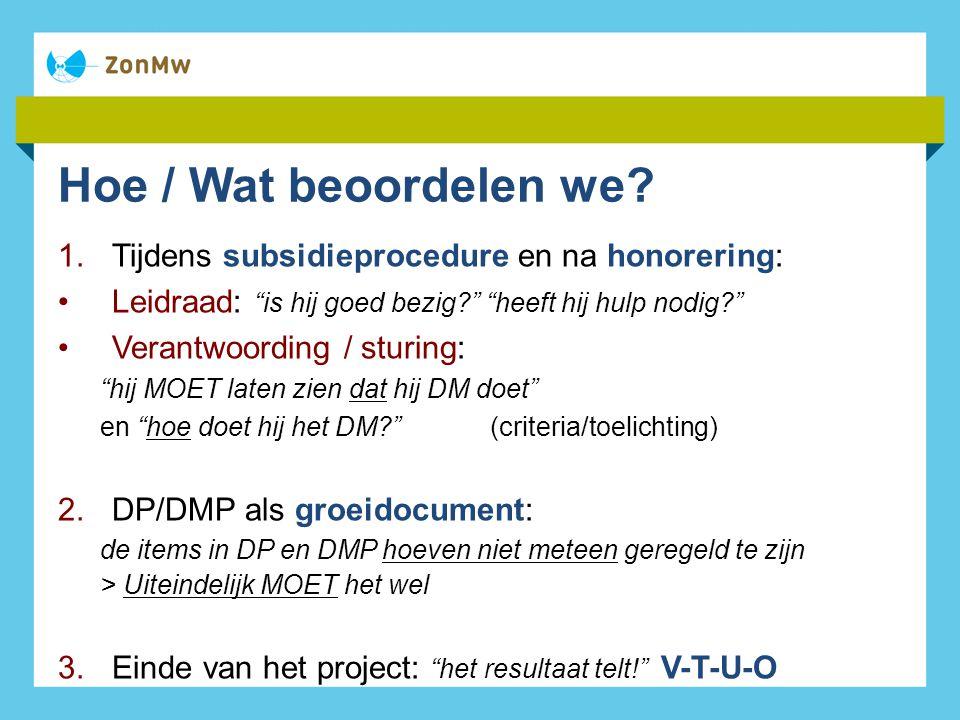 Hoe / Wat beoordelen we Tijdens subsidieprocedure en na honorering: