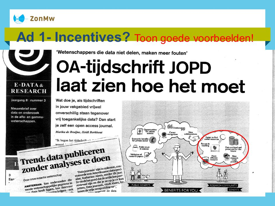 Ad 1- Incentives Toon goede voorbeelden!
