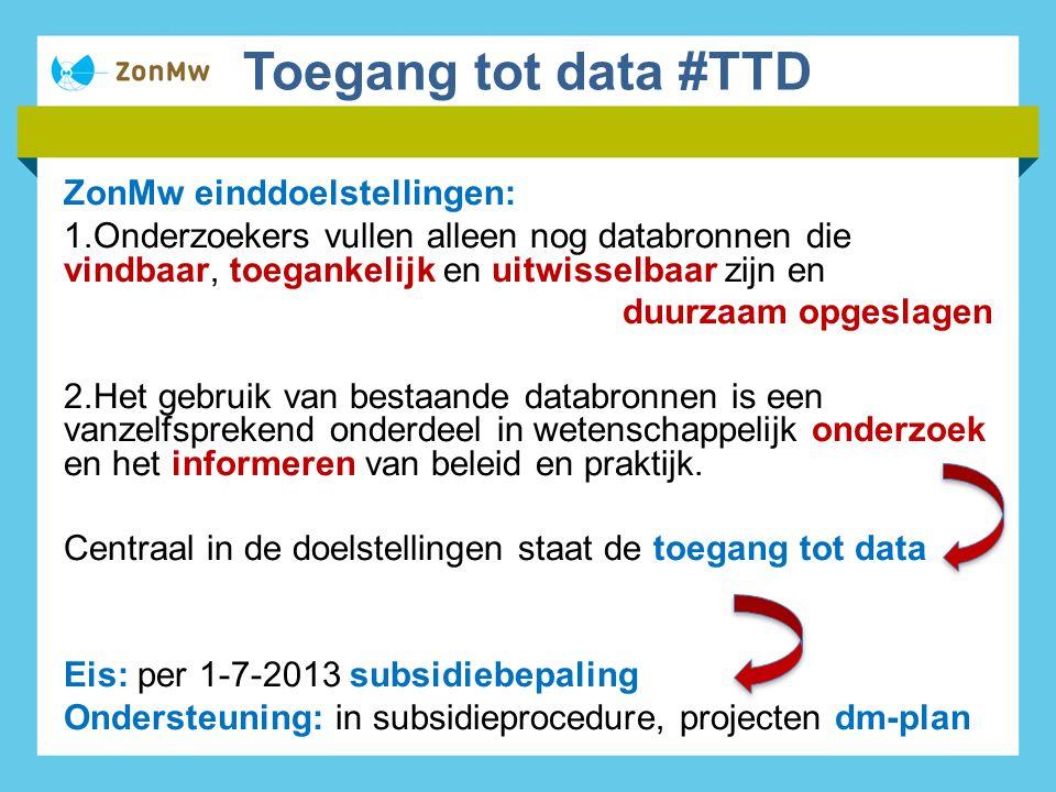 Toegang tot data #TTD ZonMw einddoelstellingen: