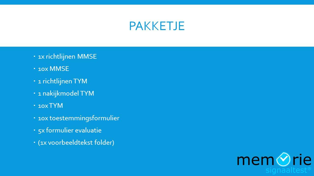 Pakketje 1x richtlijnen MMSE 10x MMSE 1 richtlijnen TYM