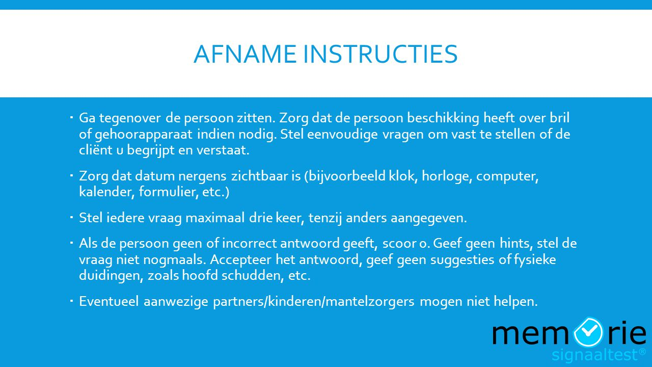 Afname instructies