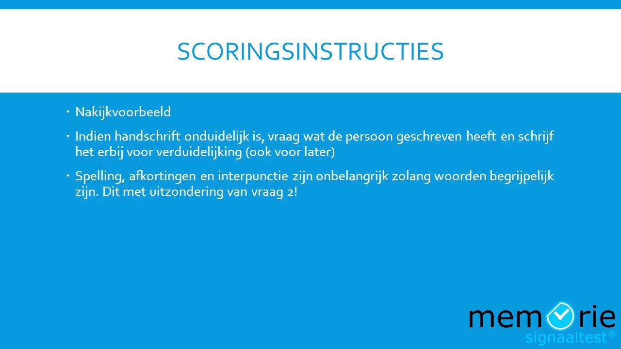 scoringsinstructies Nakijkvoorbeeld