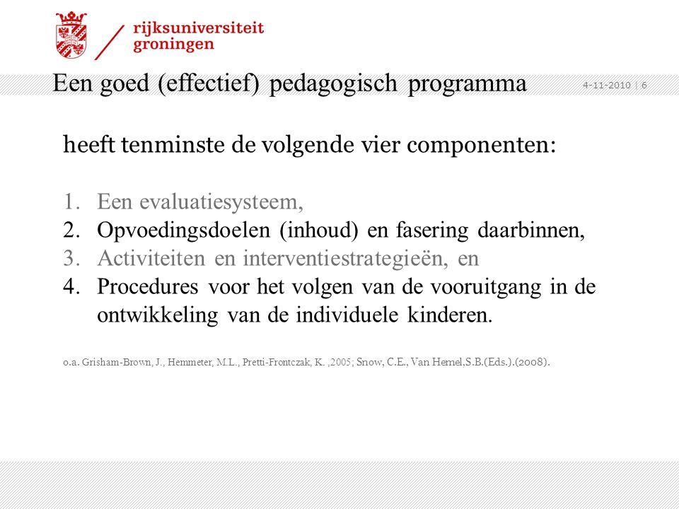 Een goed (effectief) pedagogisch programma